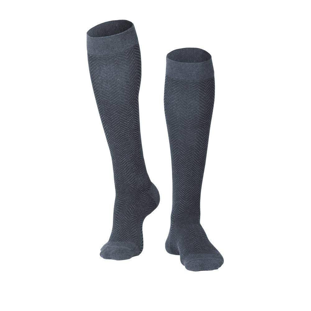 Touch 1011, Men's Compression Socks, Knee High, Herringbone Pattern, 15-20 mmHg, Charcoal, Large