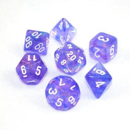 Chessex: Polyhedral Dice Set - Borealis Purple w/White (7)