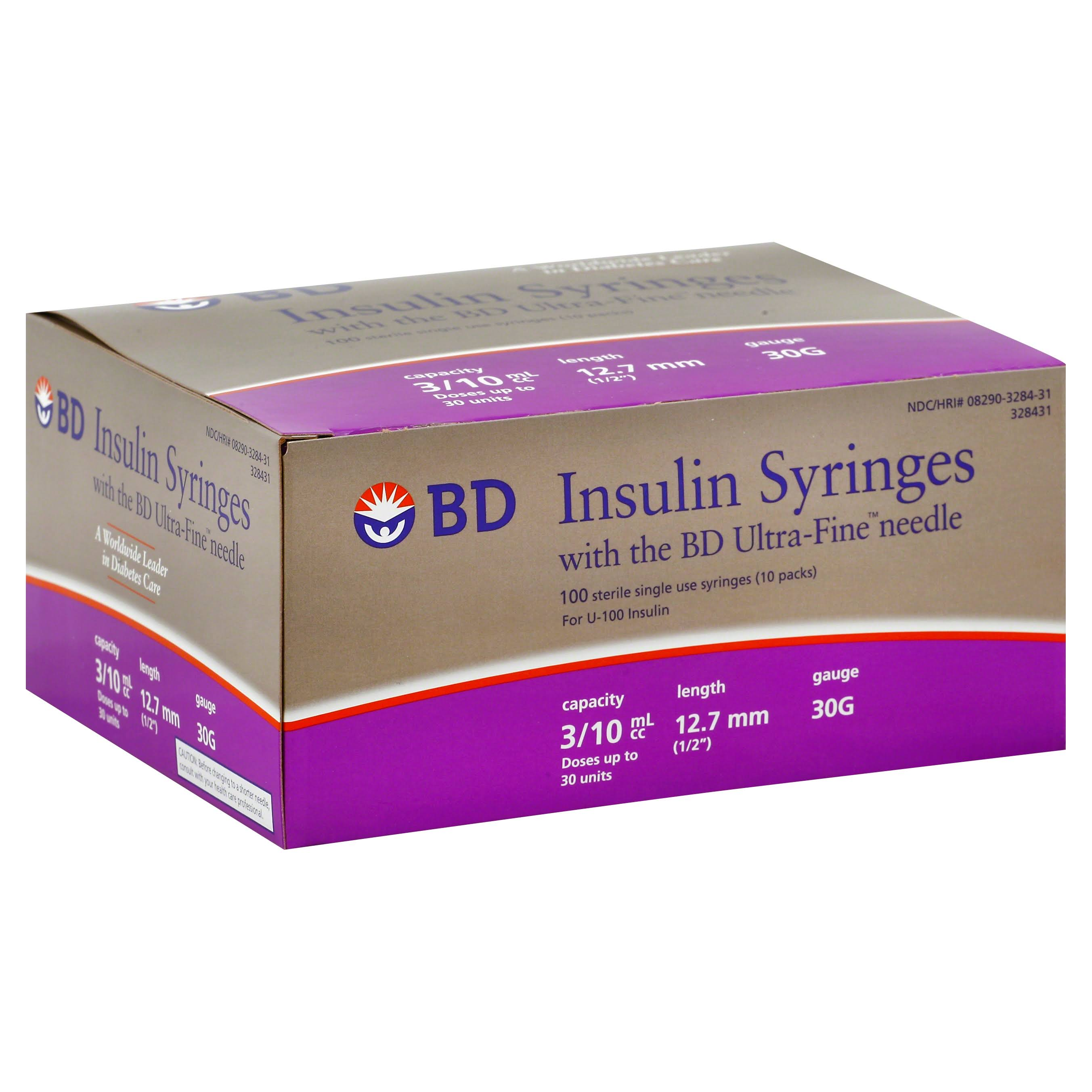 "BD Insulin Syringes Insulin Syringes - 1/2"" x 30g"