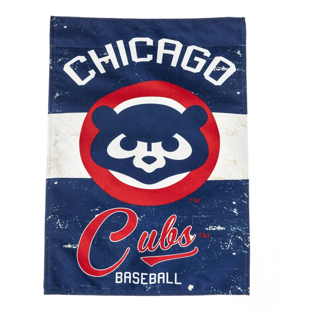 Evergreen Chicago Cubs Vintage Linen Garden Flag