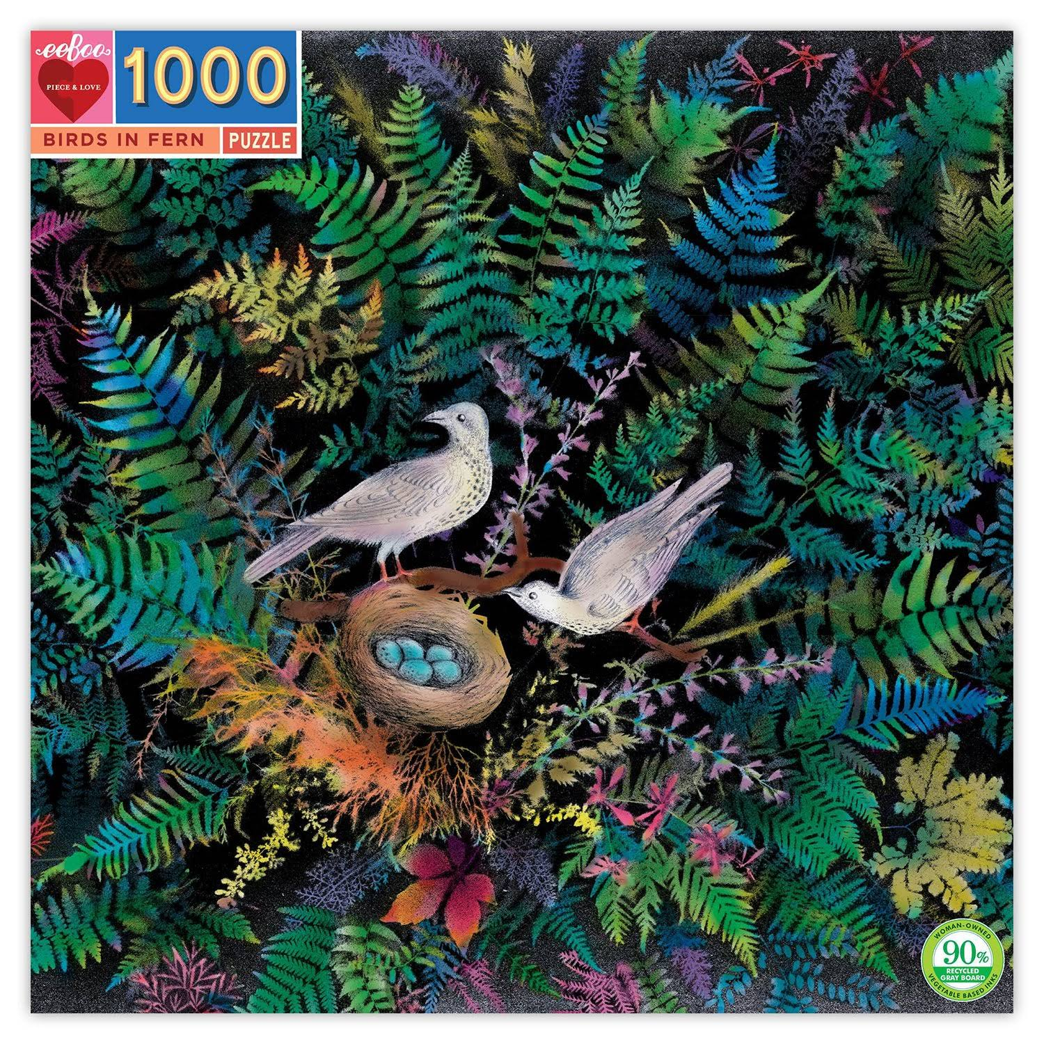 Birds in Fern - 1000pc Square Jigsaw Puzzle by eeBoo