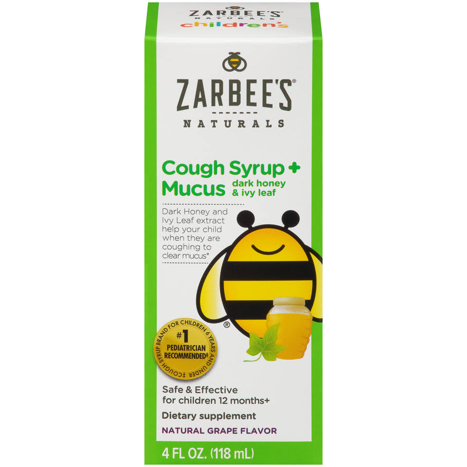 Zarbee's Naturals Children's Cough Syrup and Mucus With Dark Honey - 118ml, Grape