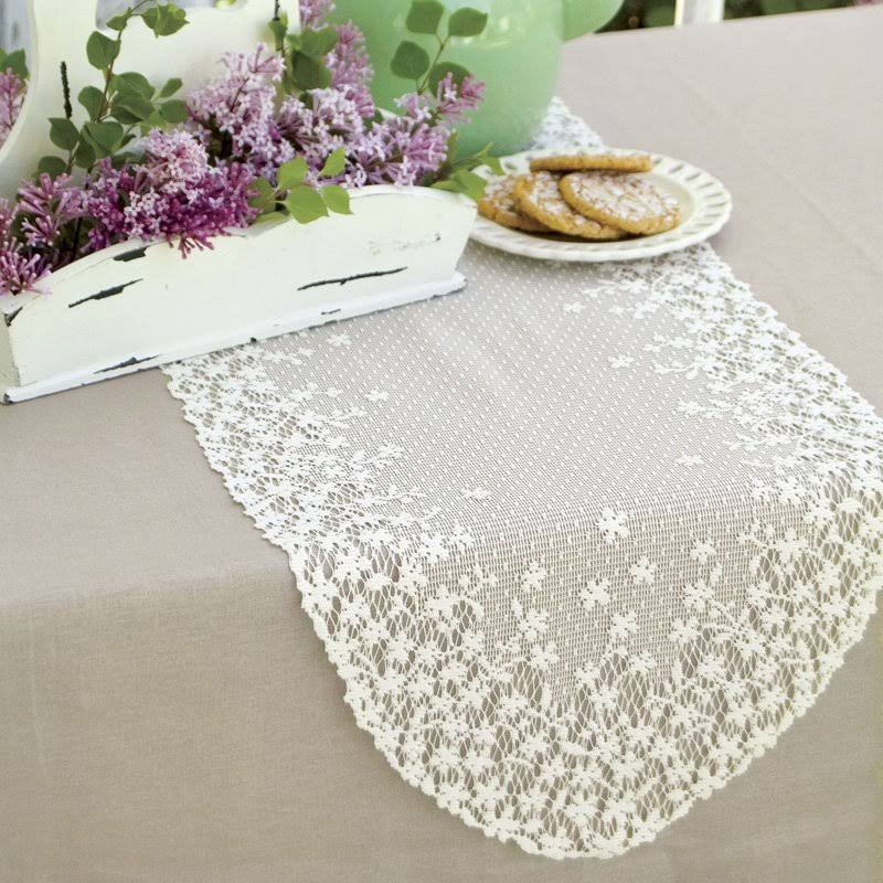 Heritage Lace Blossom Table Runner - White