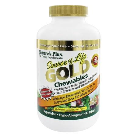 Nature's Plus Source of Life Gold Chewables, Tropical Fruit, 90
