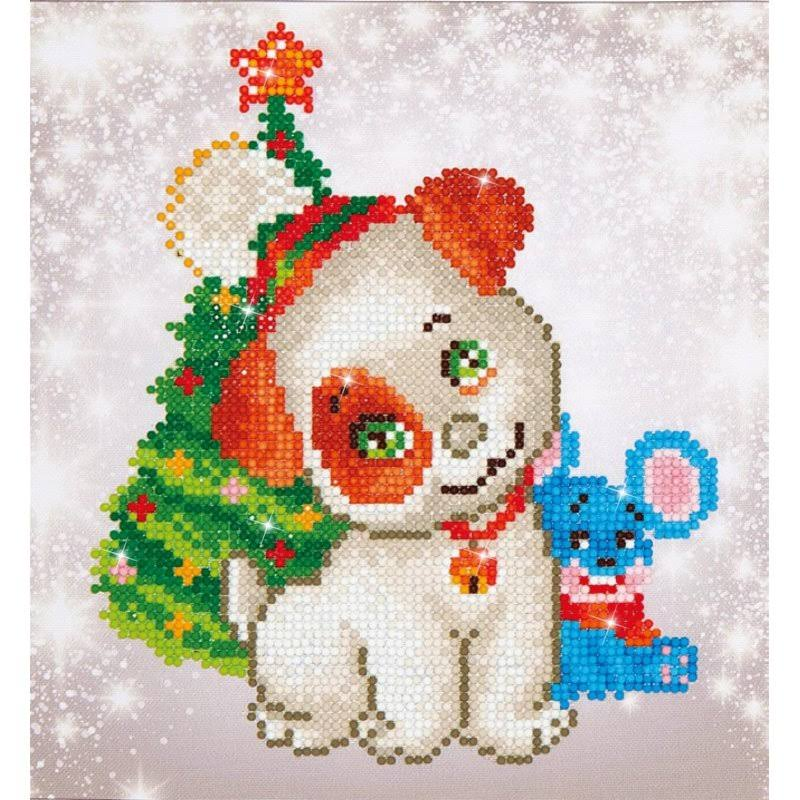 Diamond Dotz Beginner Christmas Pup and Mouse Embroidery Facet Art Kit