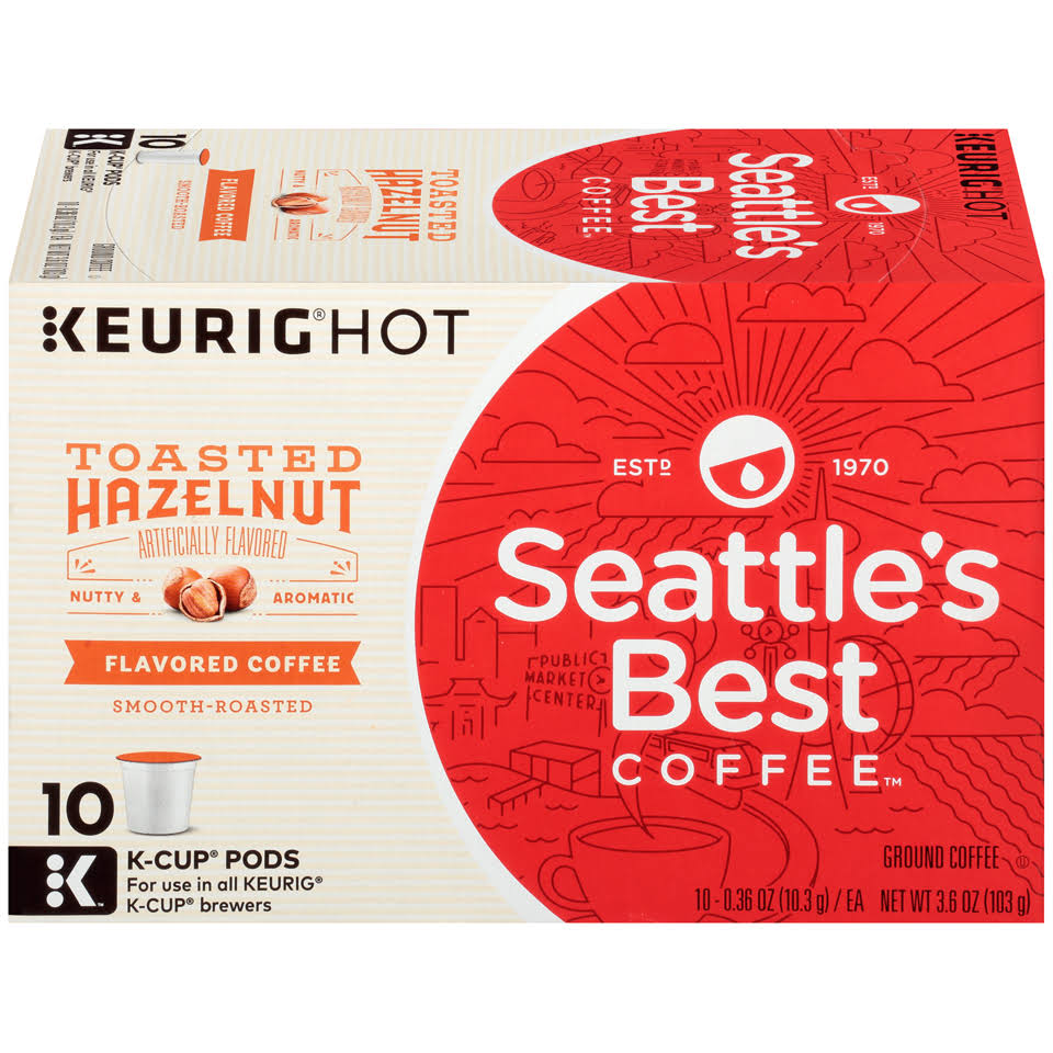 Seattle's Best Coffee Toasted Hazelnut Blend Keurig K Cup Pods Pack - 10pk
