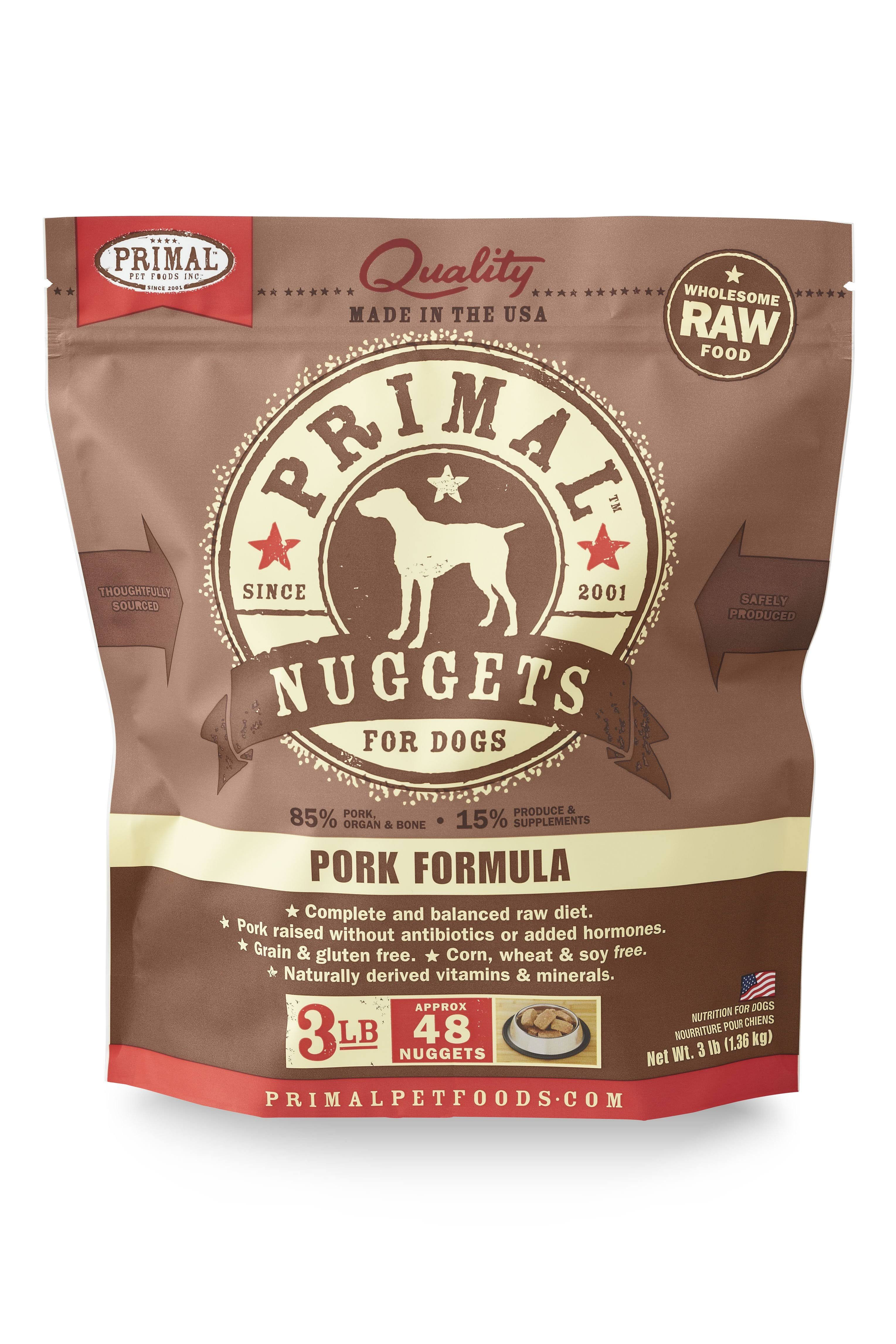 Primal Raw Frozen Dog Pork Nuggets 3lb