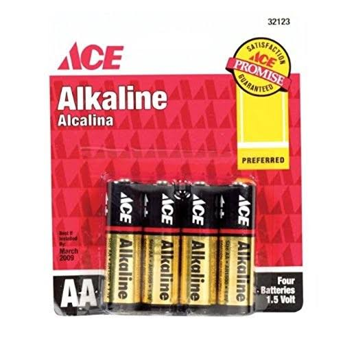 ACE Alkaline Batteries - Size AA, 4 Pack