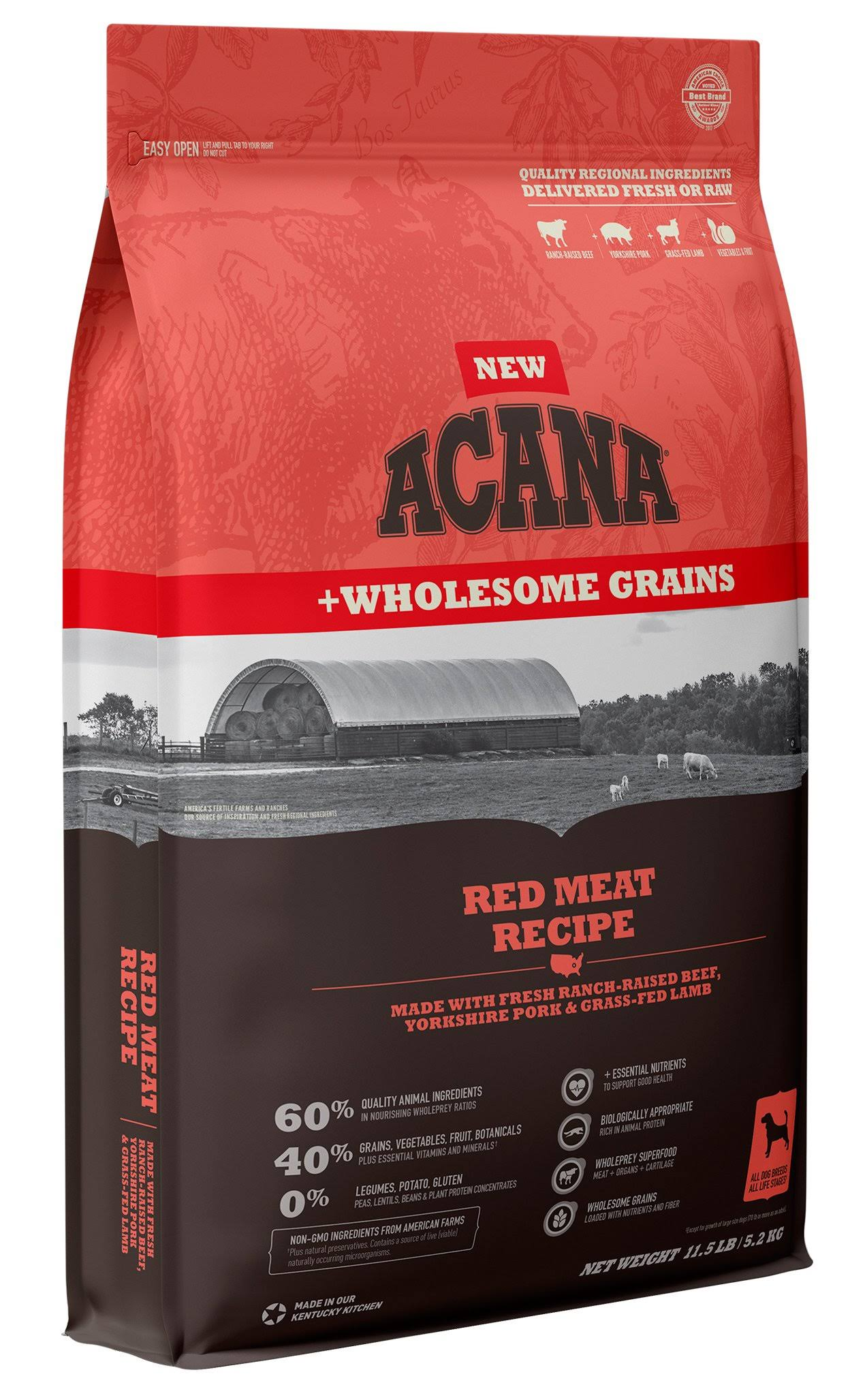 ACANA + Wholesome Grains Red Meat Recipe Dry Dog Food - 11.5 lb Bag
