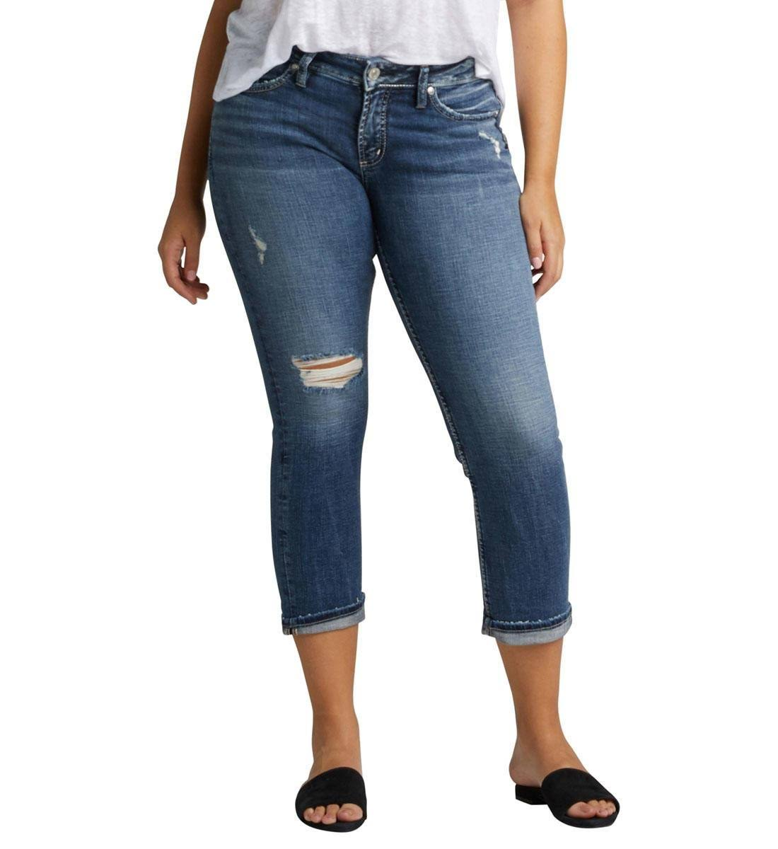 Silver Jeans Co. Elyse Destructed Capri Jeans - Indigo 26