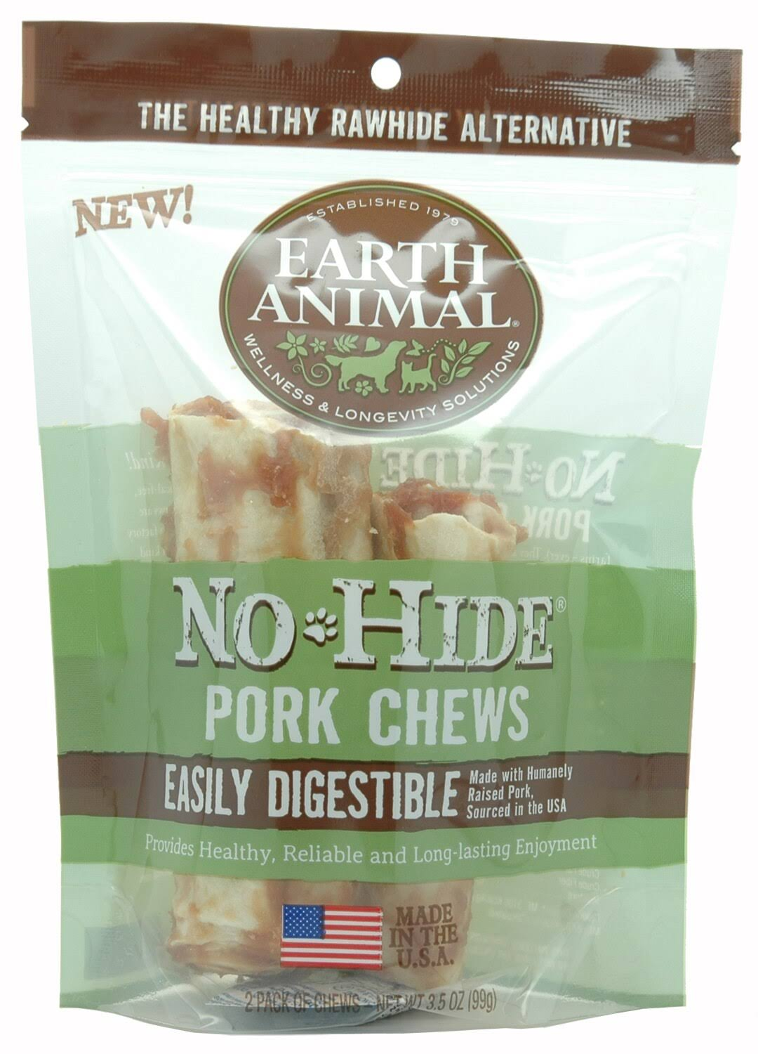 "Earth Animal No-Hide Pork Chews 4"" 2-Pack"