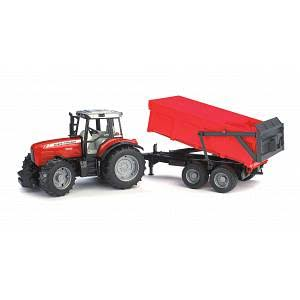 Bruder Massey Ferguson 7480 with Tipping Trailer Toy