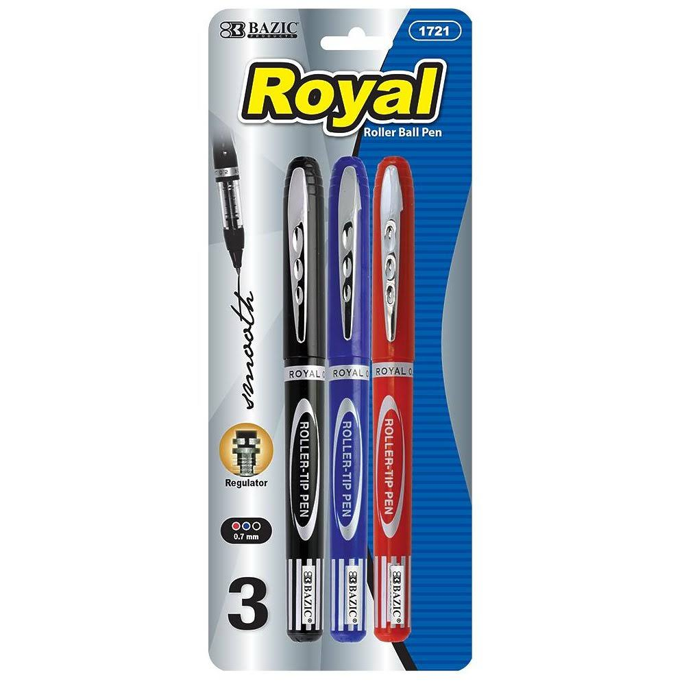 Bazic Royal Assorted Color Rollerball Pen (3-Pack) Case Pack 24