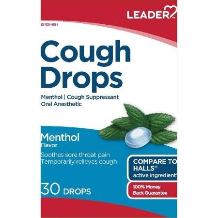 Leader Cough Drops 5.4mg Menthol 30ct