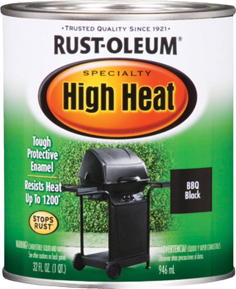 Rust Oleum 778502 Specialty High Heat Protective Enamel Paint - BBQ Black, 1qt