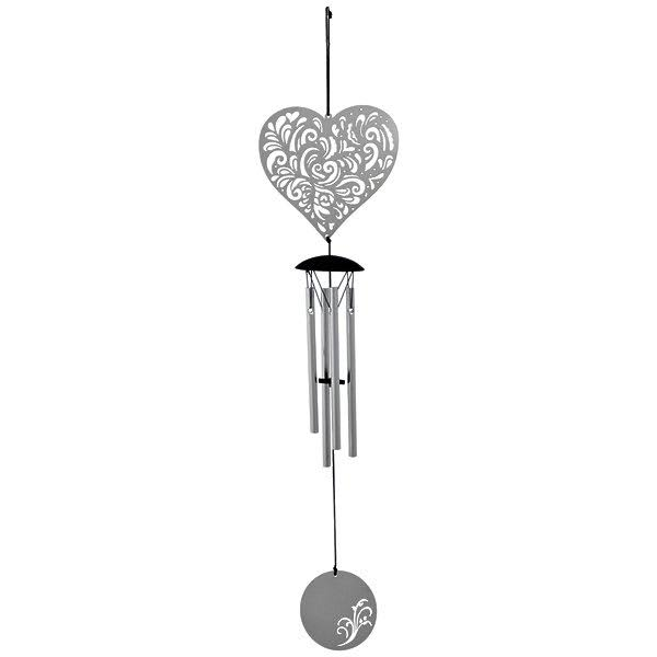 Woodstock Flourish Heart Metal Wind Chime - Silver, 45cm