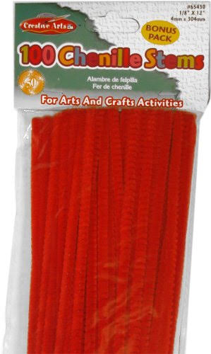 Creative Arts Chenille Stems 4 mm x 12 in. 100 Pieces Red