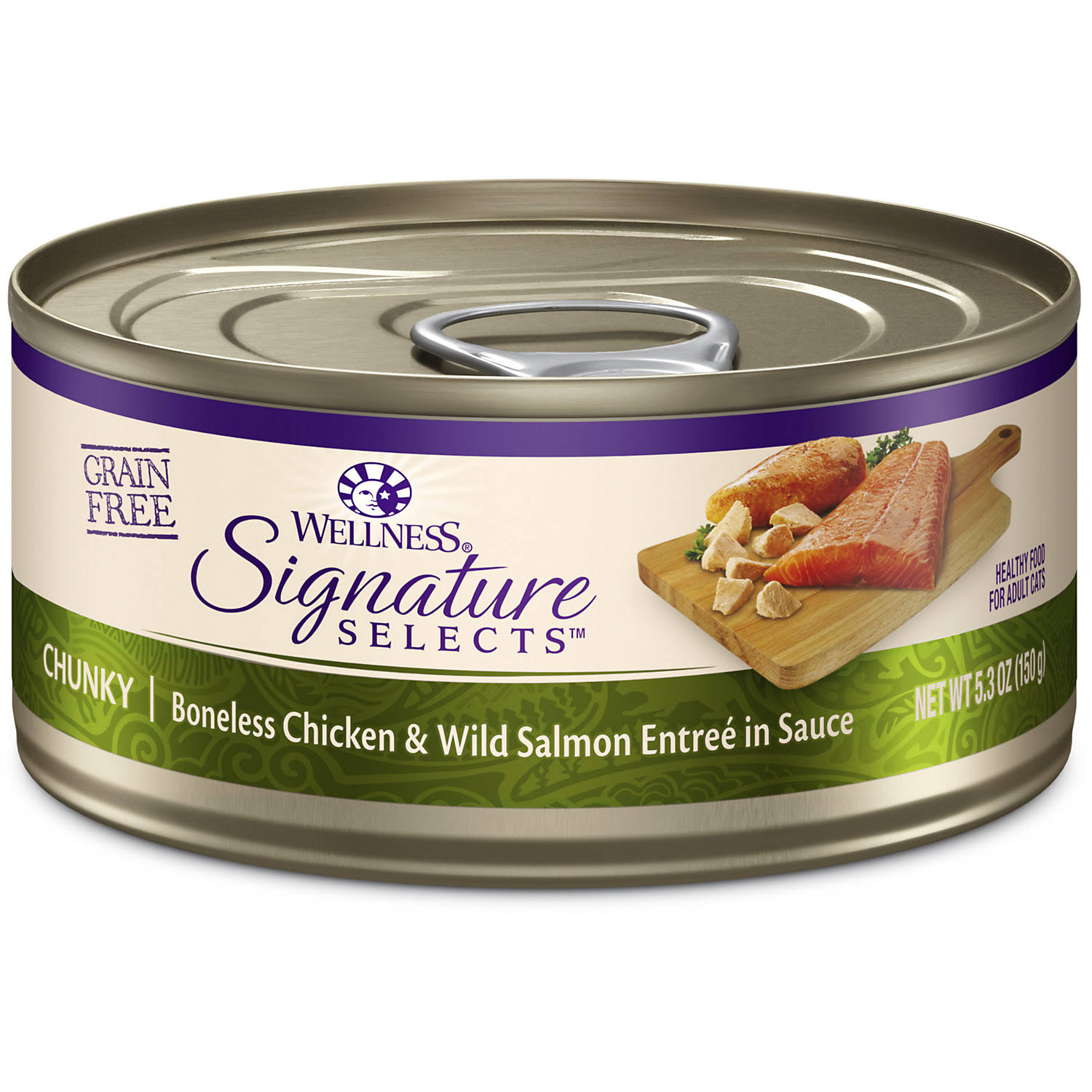 Wellness Signature Selects Grain Free Natural White Meat Chicken & Wild Salmon Entree in Sauce Wet Canned Cat Food - 5.3 oz, Case of 12