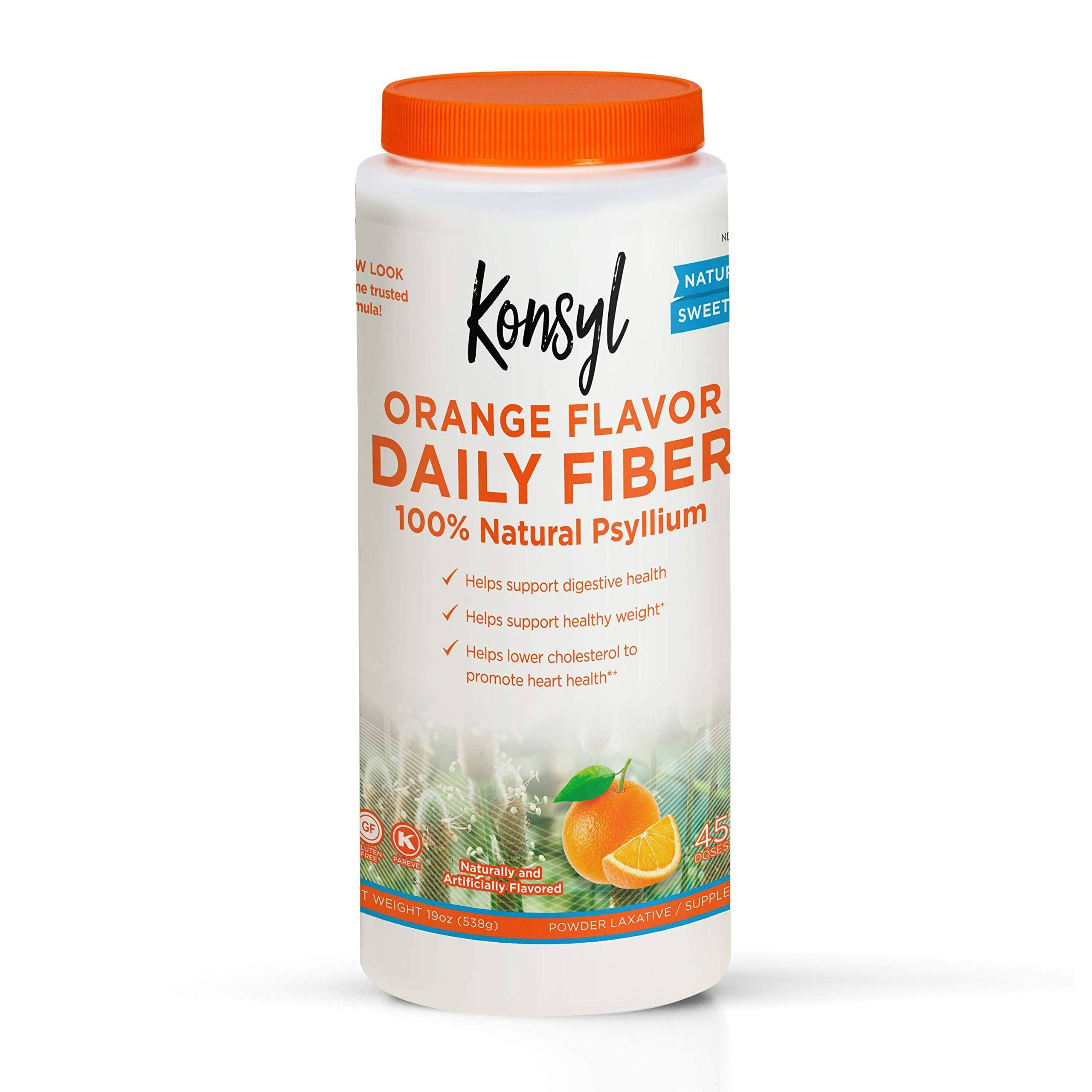 Konsyl Psyllium Fiber Laxative Supplement - Orange Flavor, 19oz