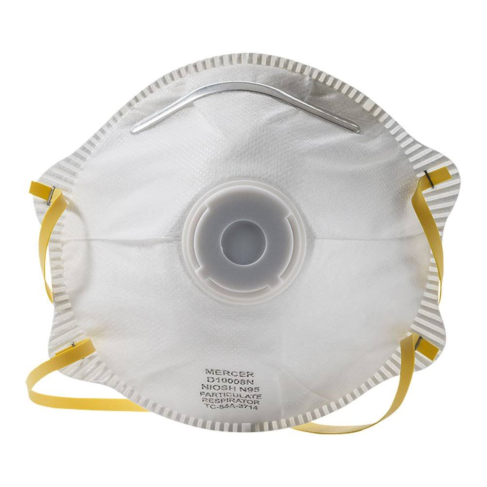 Mercer Industries D10008N N95 NIOSH Approved Particulate Respirator with Valve (10 Pack)