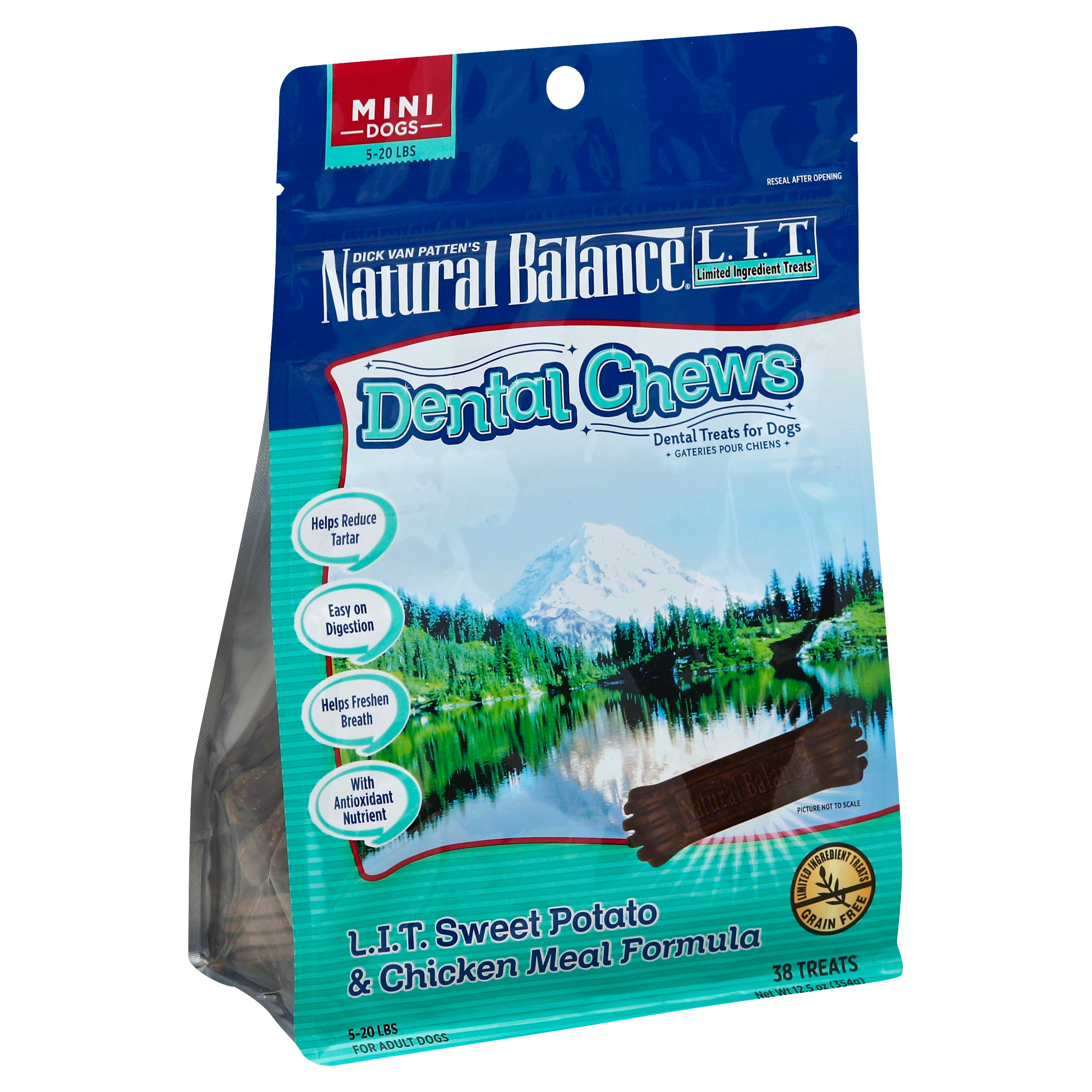 Natural Balance Dental Chews Dog Treats - Limited Ingredient Treats Sweet Potato and Chicken Meal, 12.5oz