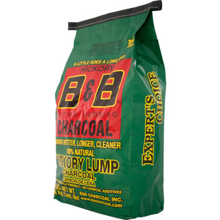B & B Lump Charcoal, with Hickory, Texas Style - 8 lbs (3.64 kg)
