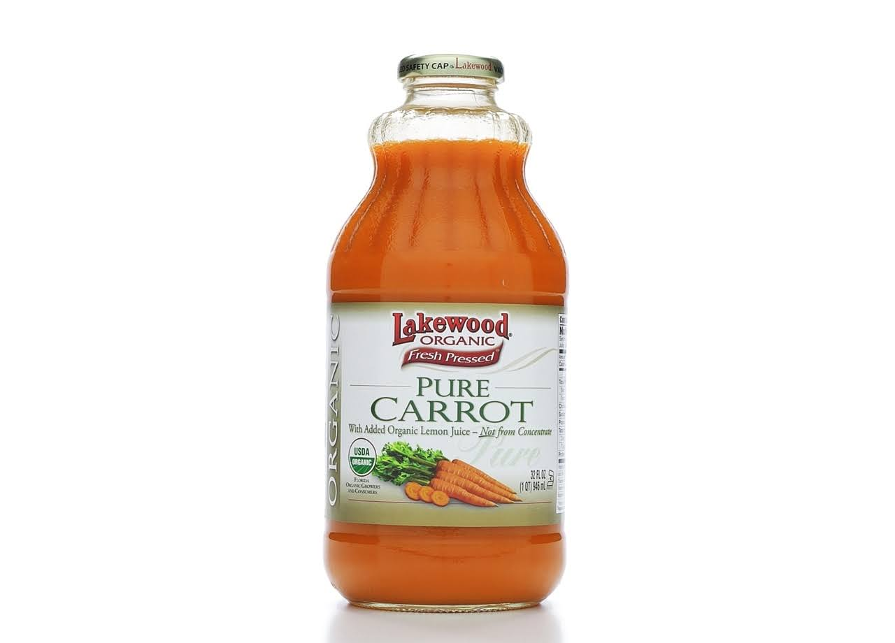 Lakewood Organic 100% Juice, Pure Carrot, with Organic Lemon Juice - 32 fl oz