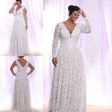 plus size white lace evening dress 2016 long sleeves deep v neck