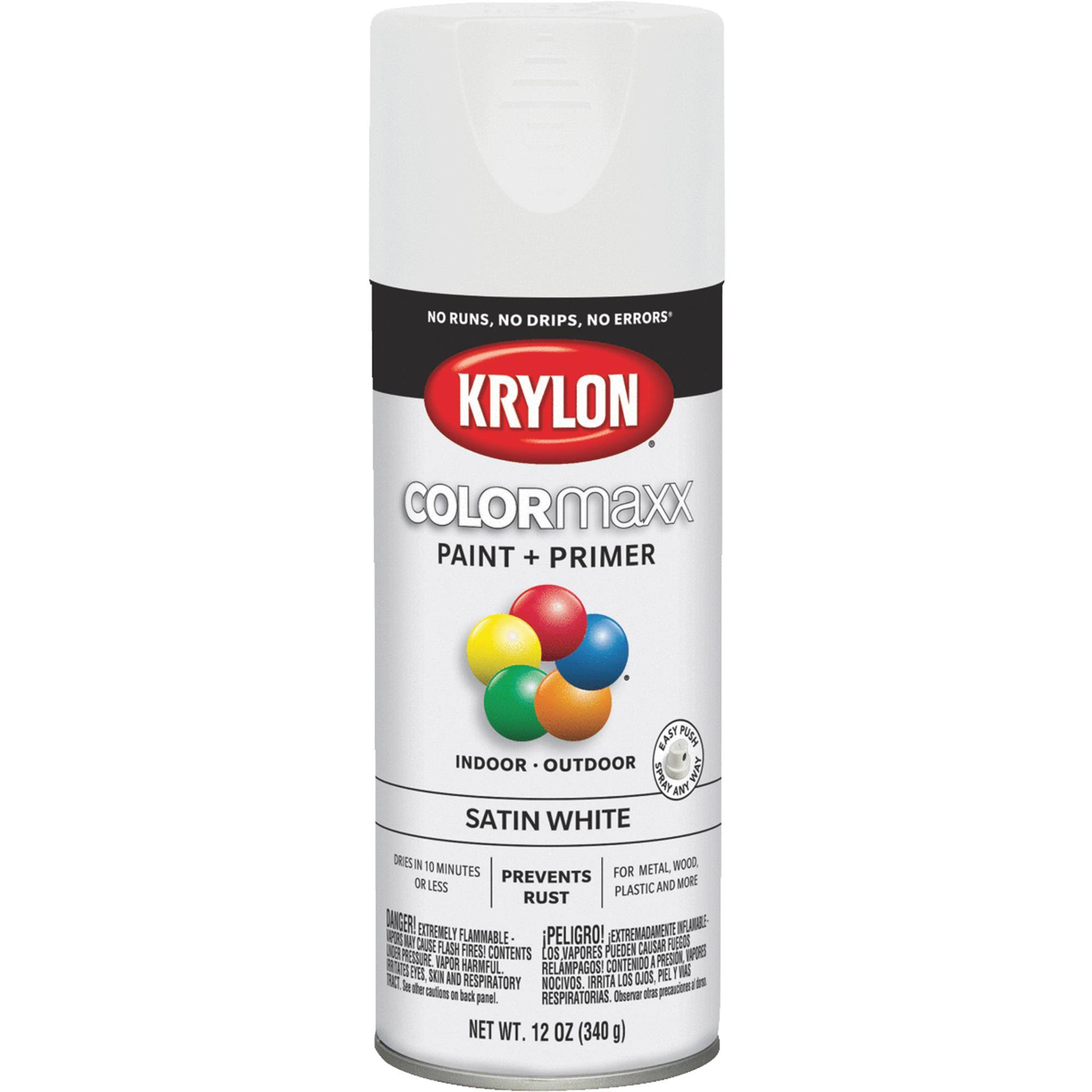 Krylon K05577007 COLORmaxx Spray Paint Satin White 12 Ounce