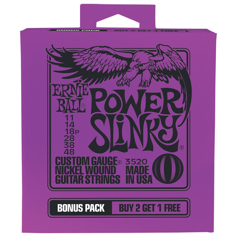 Ernie Ball P03520 Power Slinky Nickel Wound Electric Guitar Strings Bonus Pack