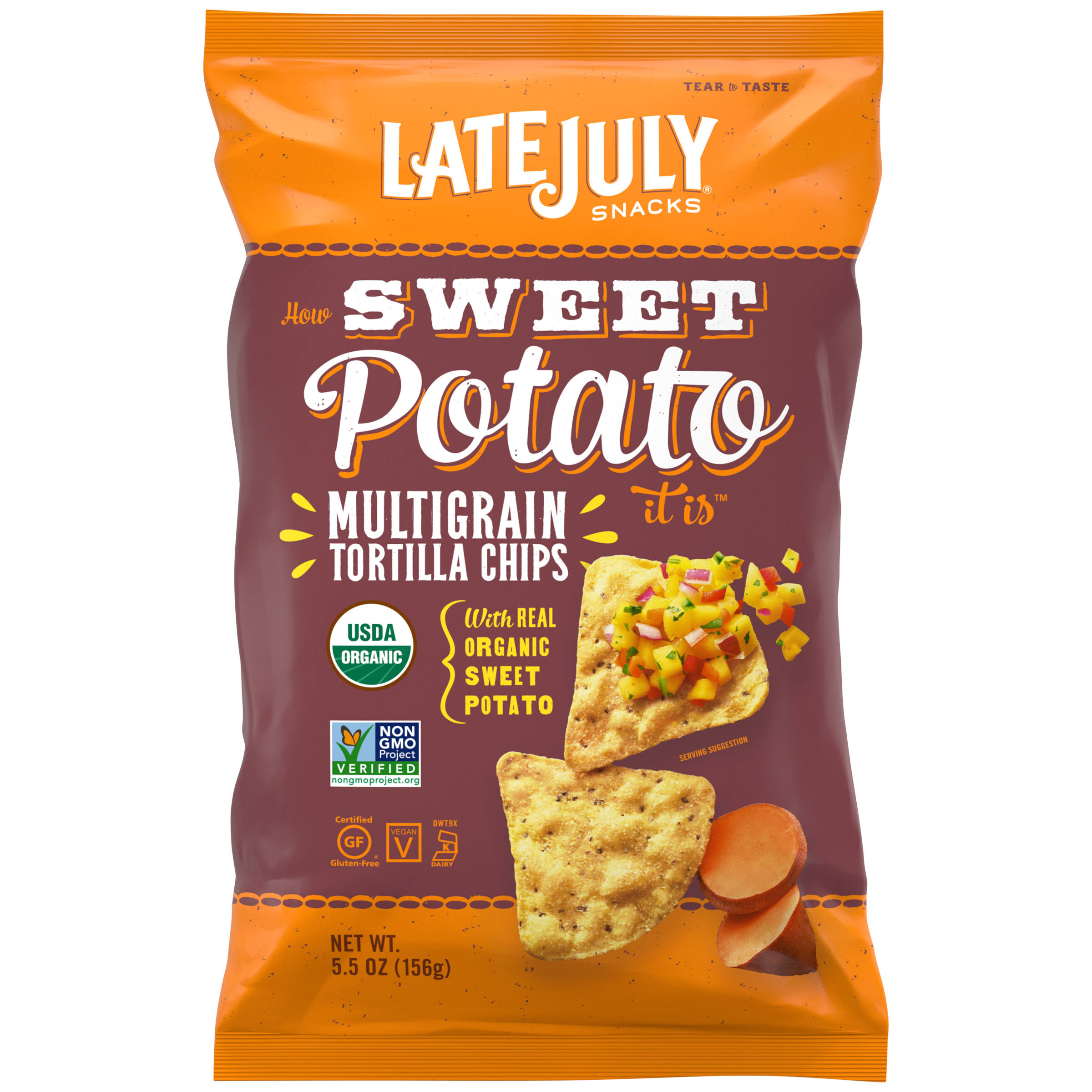 Late July Organic Multigrain Tortilla Chips - Sweet Potato, 5.5oz