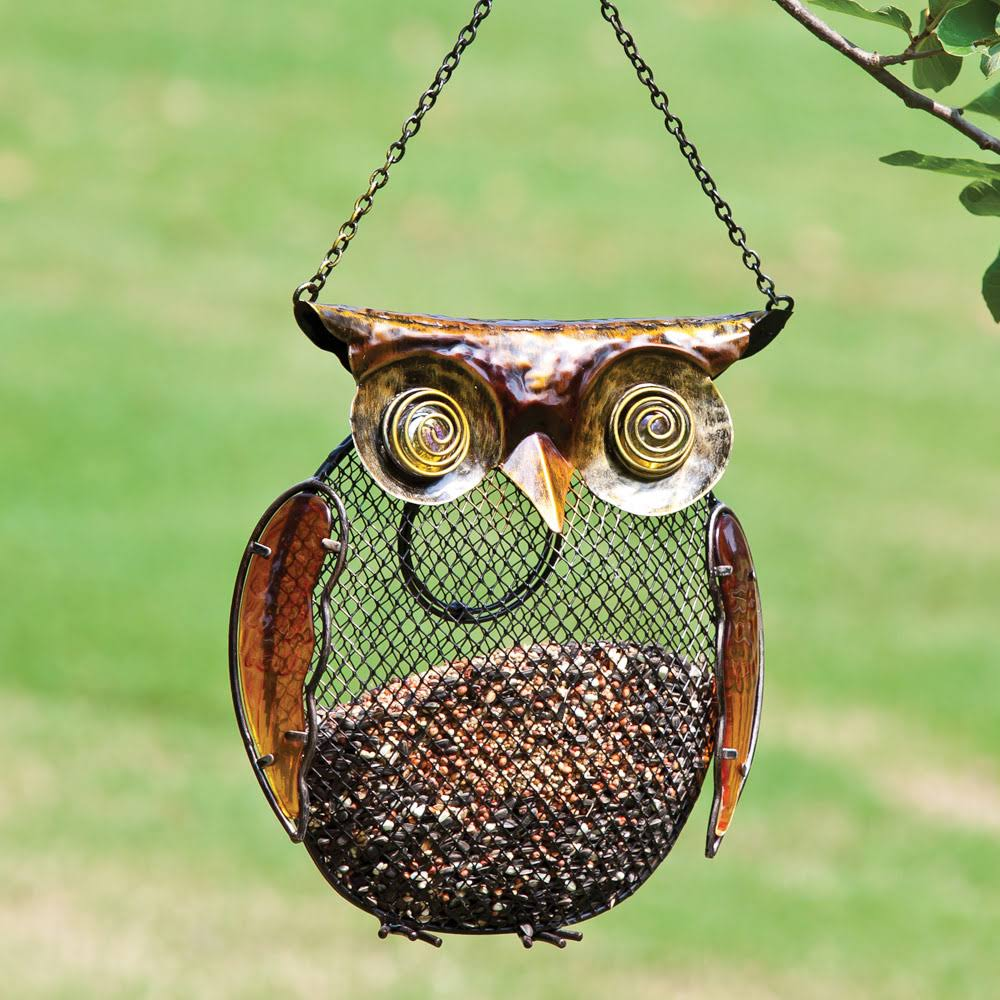 Evergreen Metal and Glass Owl Bird Feeder