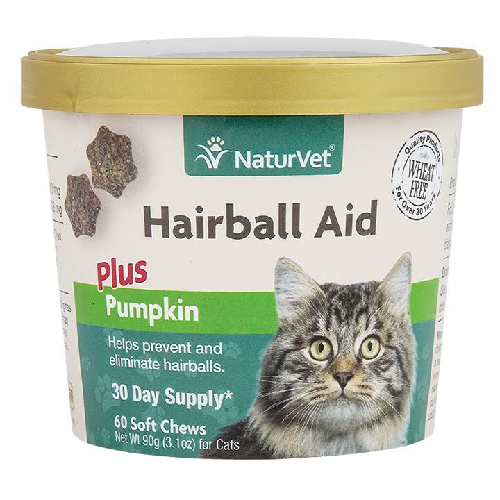 Naturvet Hairball Aid Plus Pumpkin Cat Soft Chews - 60 Soft Chews, 90g