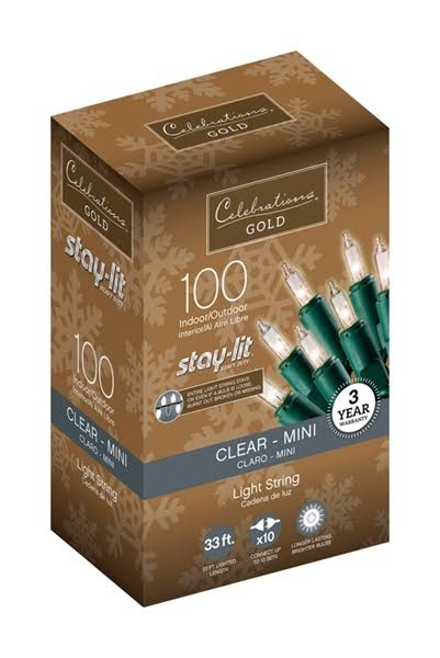 Celebrations Gold Mini Light Set - Clear, 100 Mini Lights