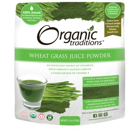 Organic Traditions Wheat Grass Juice Powder 5.3 oz.