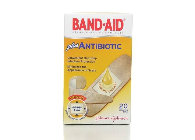 Band Aid Antibiotic Adhesive Bandages - Assorted Sizes, 20ct