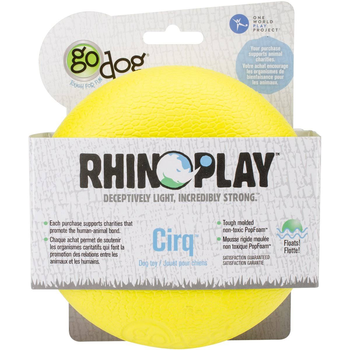 Go Dog Rhino Play Cirq Dog Toy - Large, Yellow