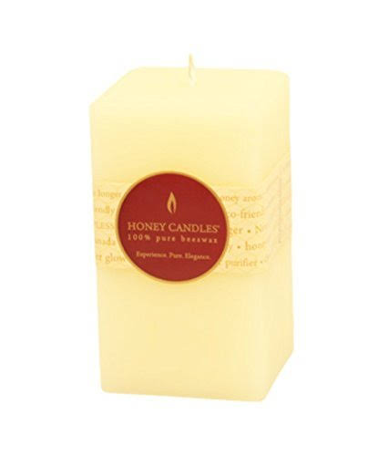 "Honey Candles Pure Beeswax 5"" x 3"" Square Pillar - Pearl 1 Piece"