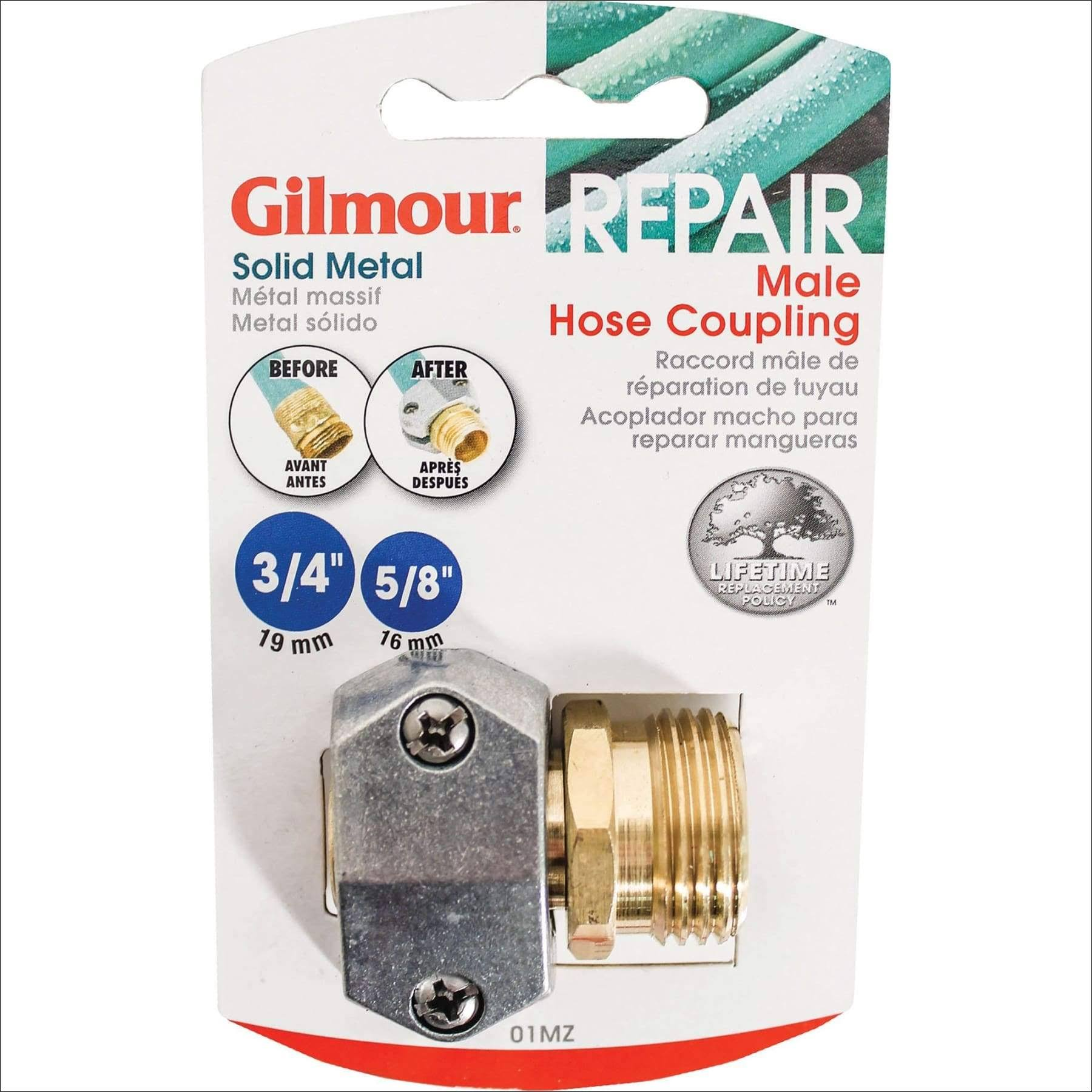 "Gilmour Male Clamp Coupling - Zinc & Brass, 5/8""x0.75"""