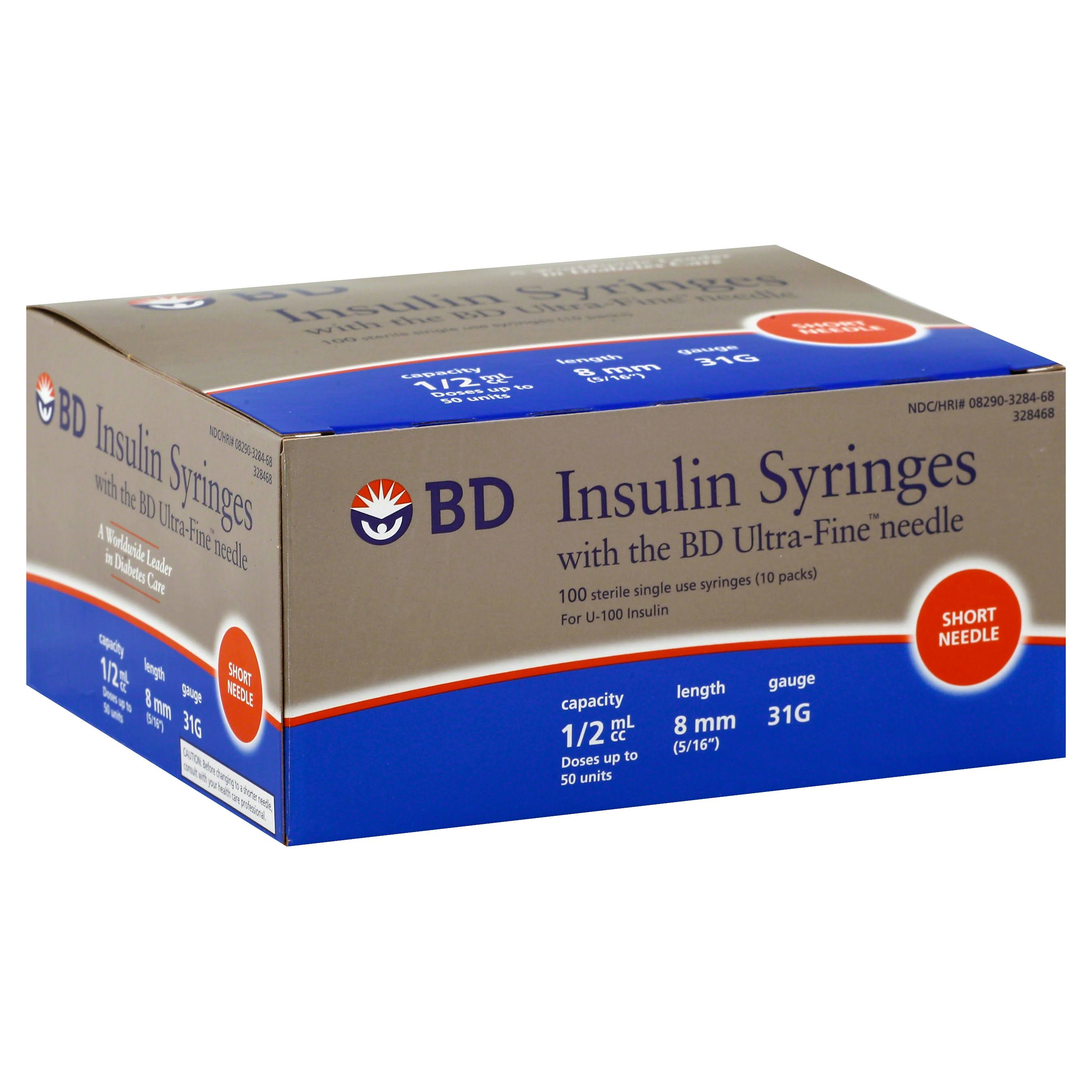 BD Ultra-Fine II Short BD Ultra-Fine II Insulin Syringes - 100 Count