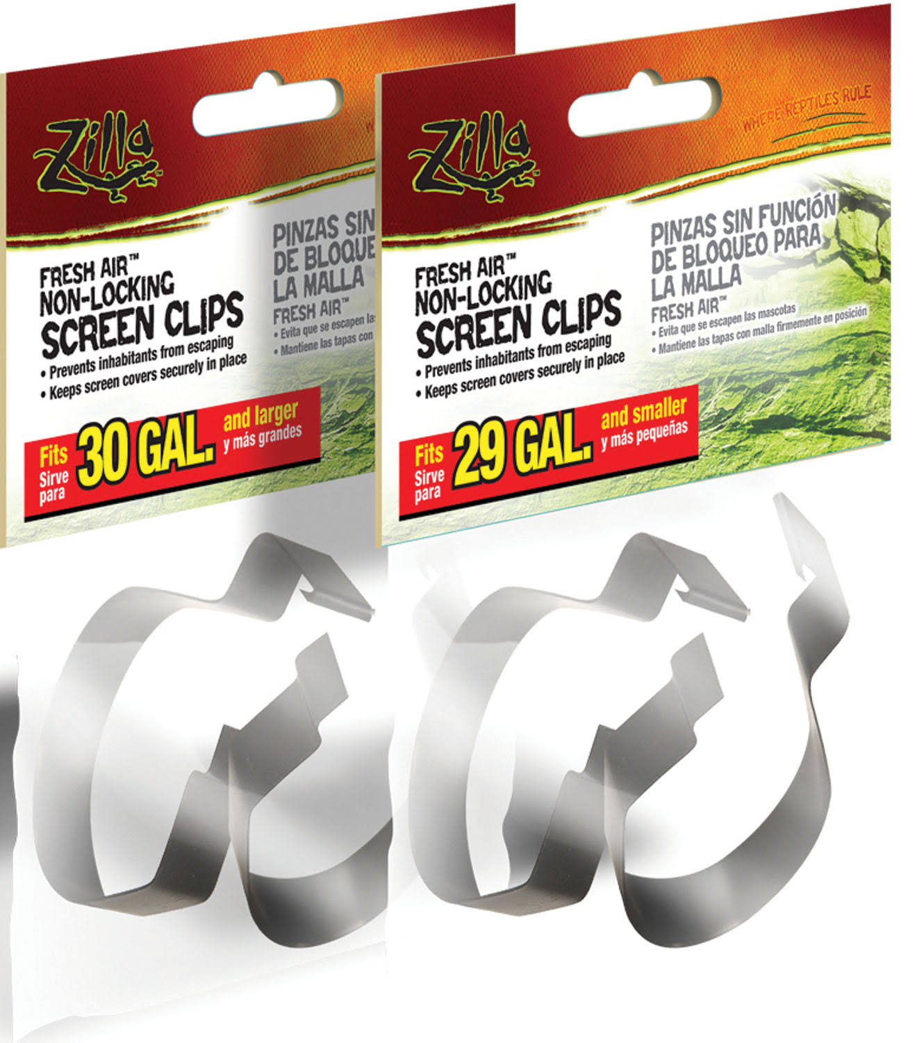 Zilla Fresh Air Non-Locking Screen Clips - Large, 2 Pack