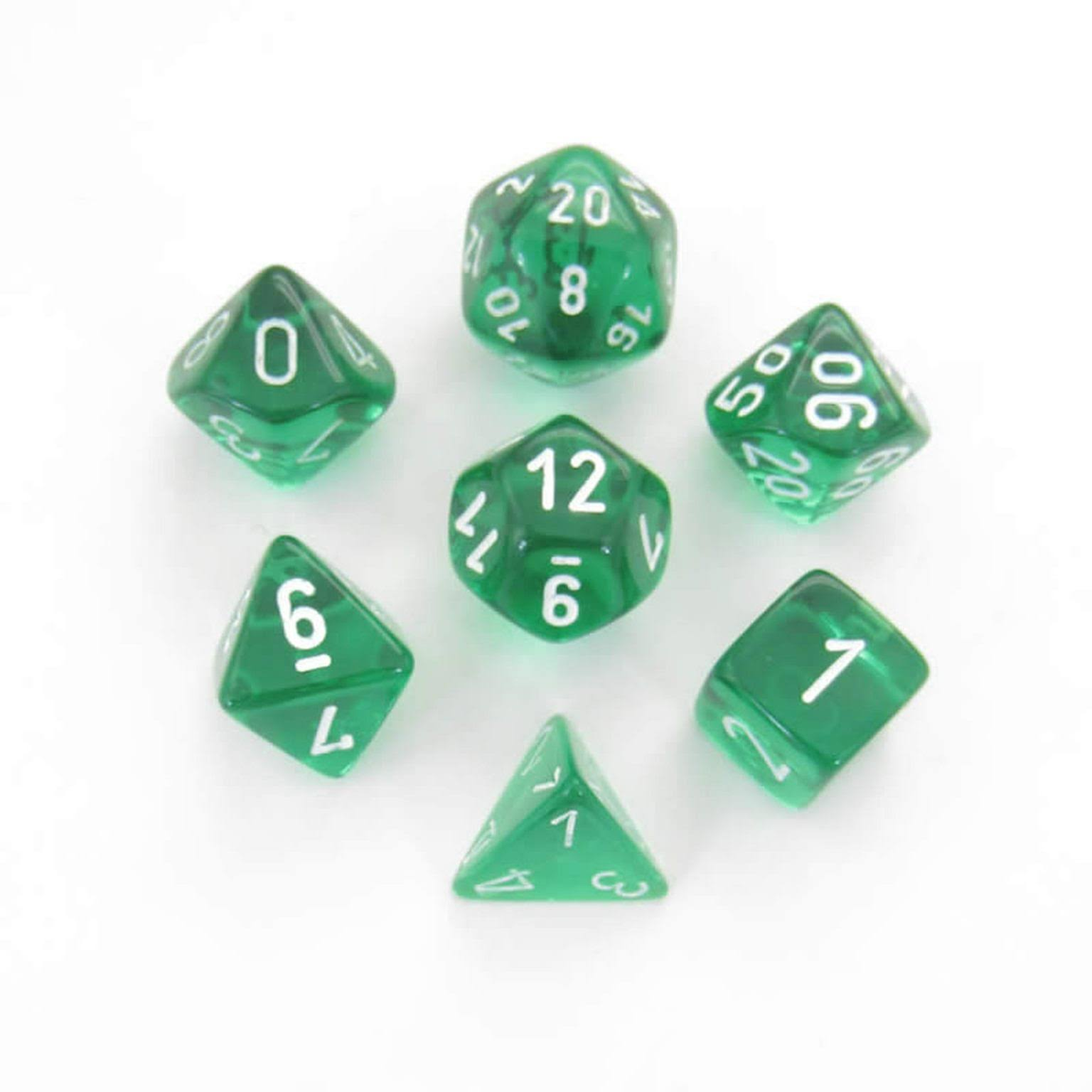 Chessex - Translucent Polyhedral Green/White 7-Die Set