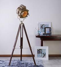 Photographers Tripod Floor Lamp by Vintage Wooden Tripod Brass Floor Lamp Antikcart