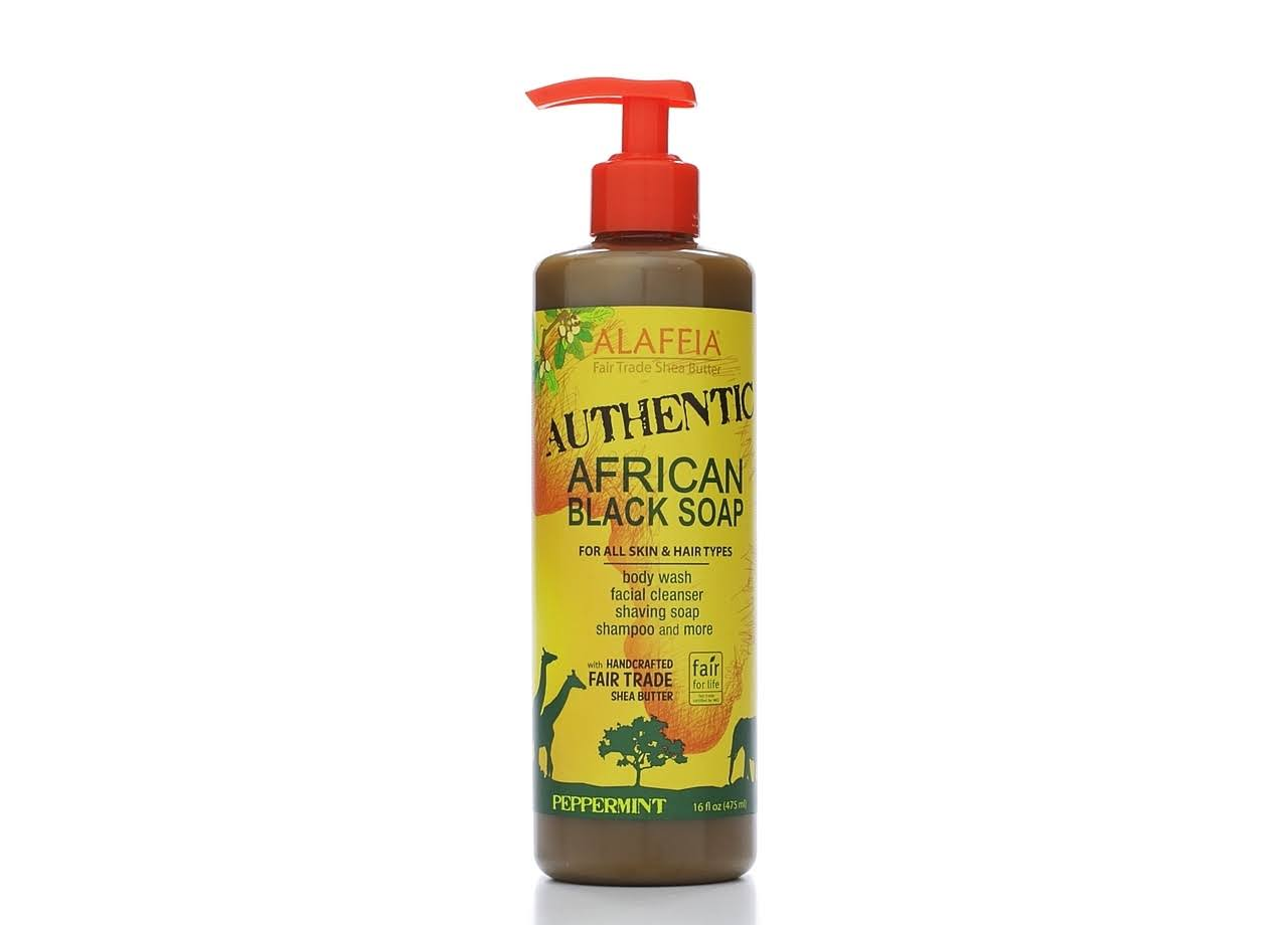Alaffia Authentic African Black Soap - Peppermint, 16oz