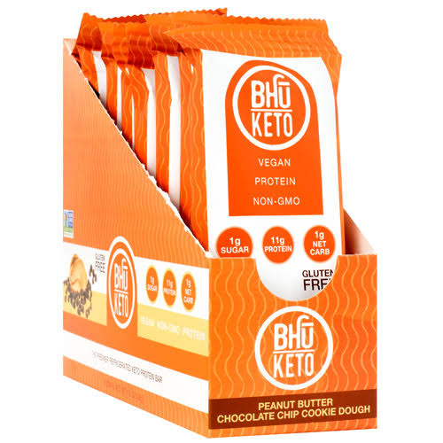 Bhu Keto Protein Bar, Peanut Butter Chocolate Chip Cookie Dough - 8 bars, 1.6 oz