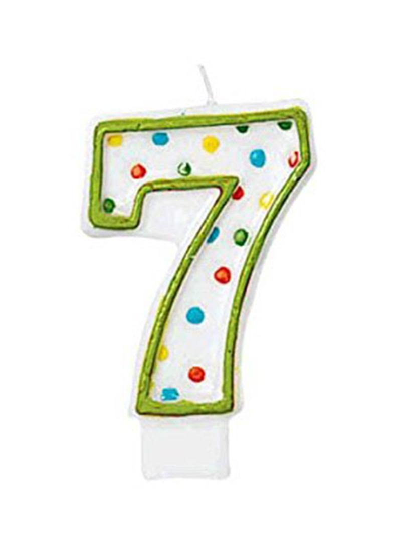 Amscan Polka Dots Number 7 Candle