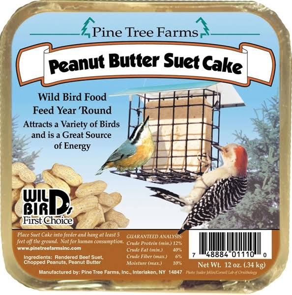 Pine Tree Farms 1110 Suet Peanut Butter Cake Bird Food - 12oz