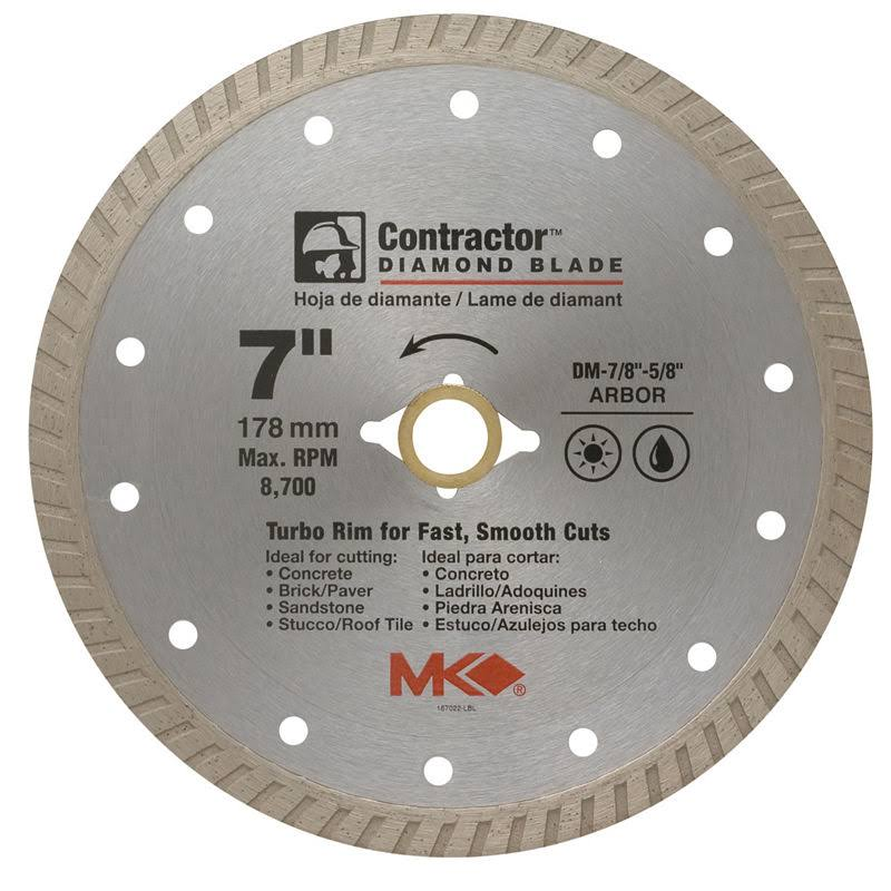 MK Diamond Wet and Dry Turbo Rim Contractor Saw Blade - 7""