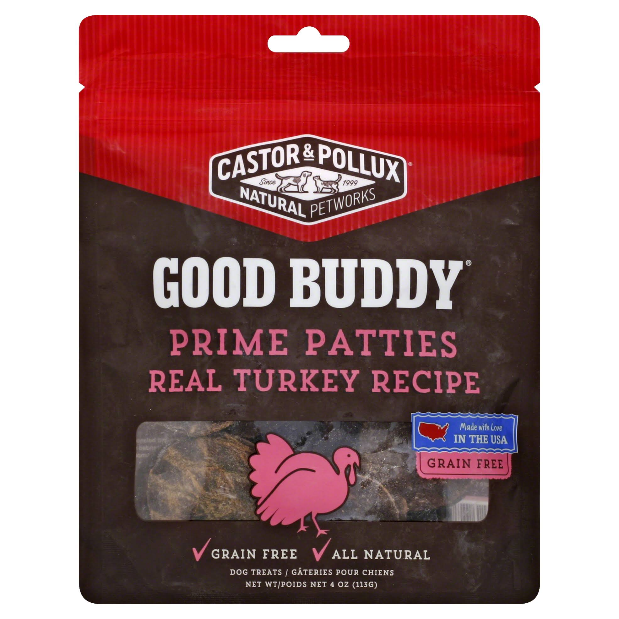 Castor and Pollux Good Buddy Prime Patties Dog Treats - Real Turkey Recipe, 4oz
