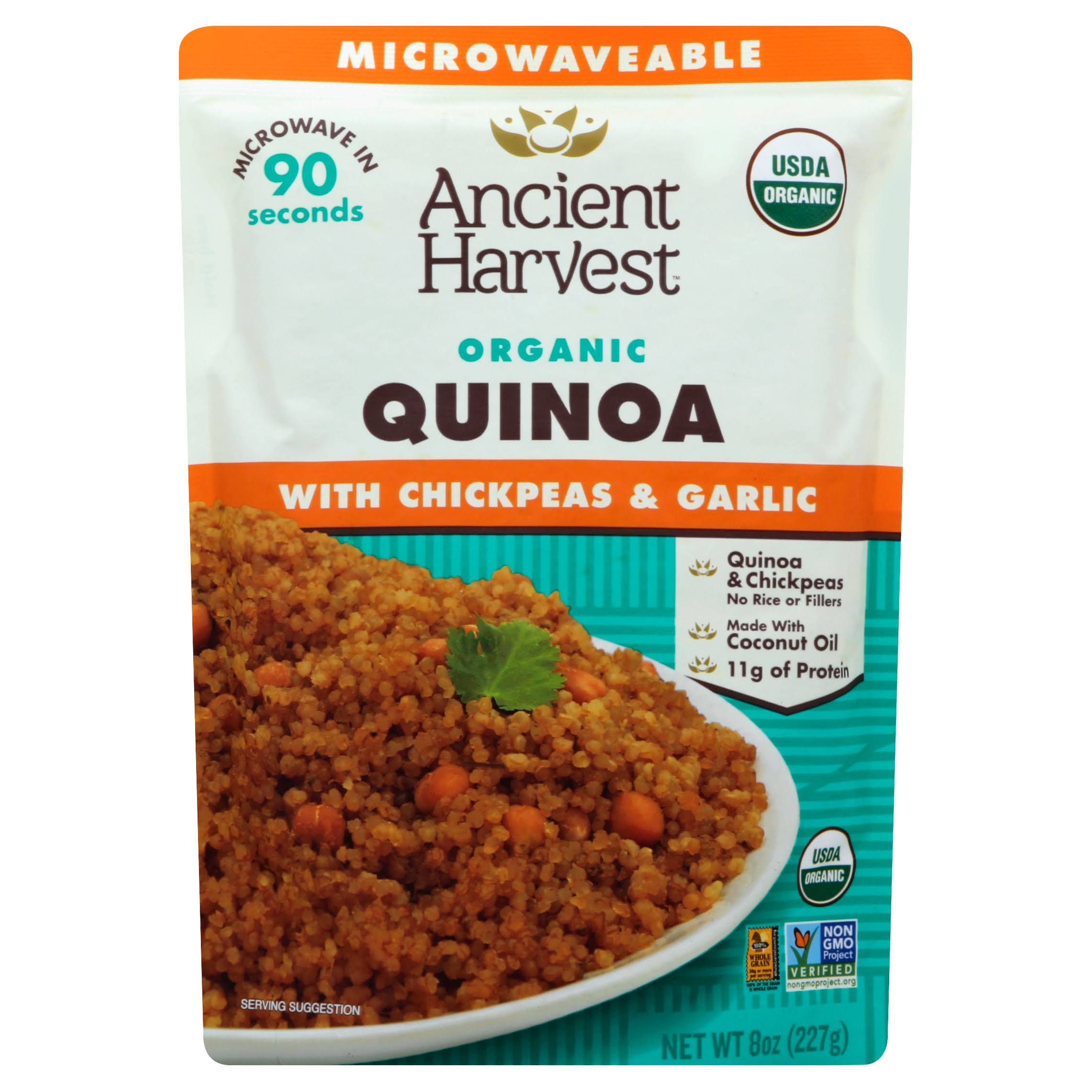 Ancient Harvest Organic Microwaveable Quinoa with Chickpeas and Garlic - 8oz